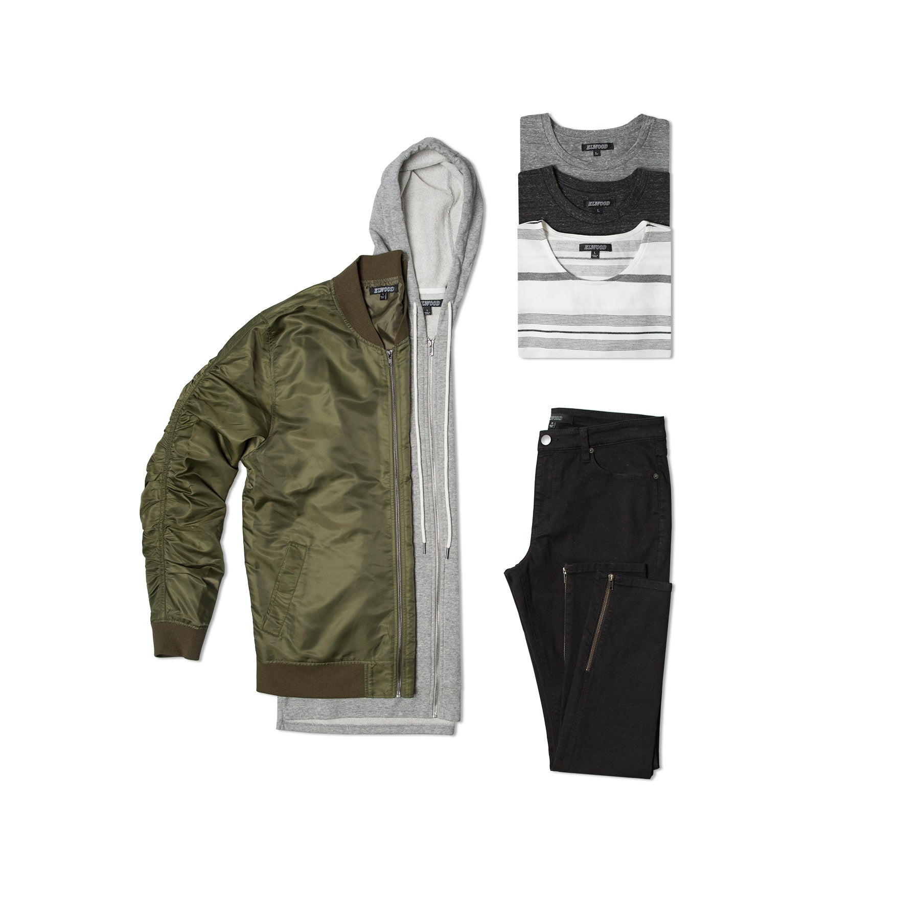 elwood clothing hot box with mens olive green nylon bomber jacket