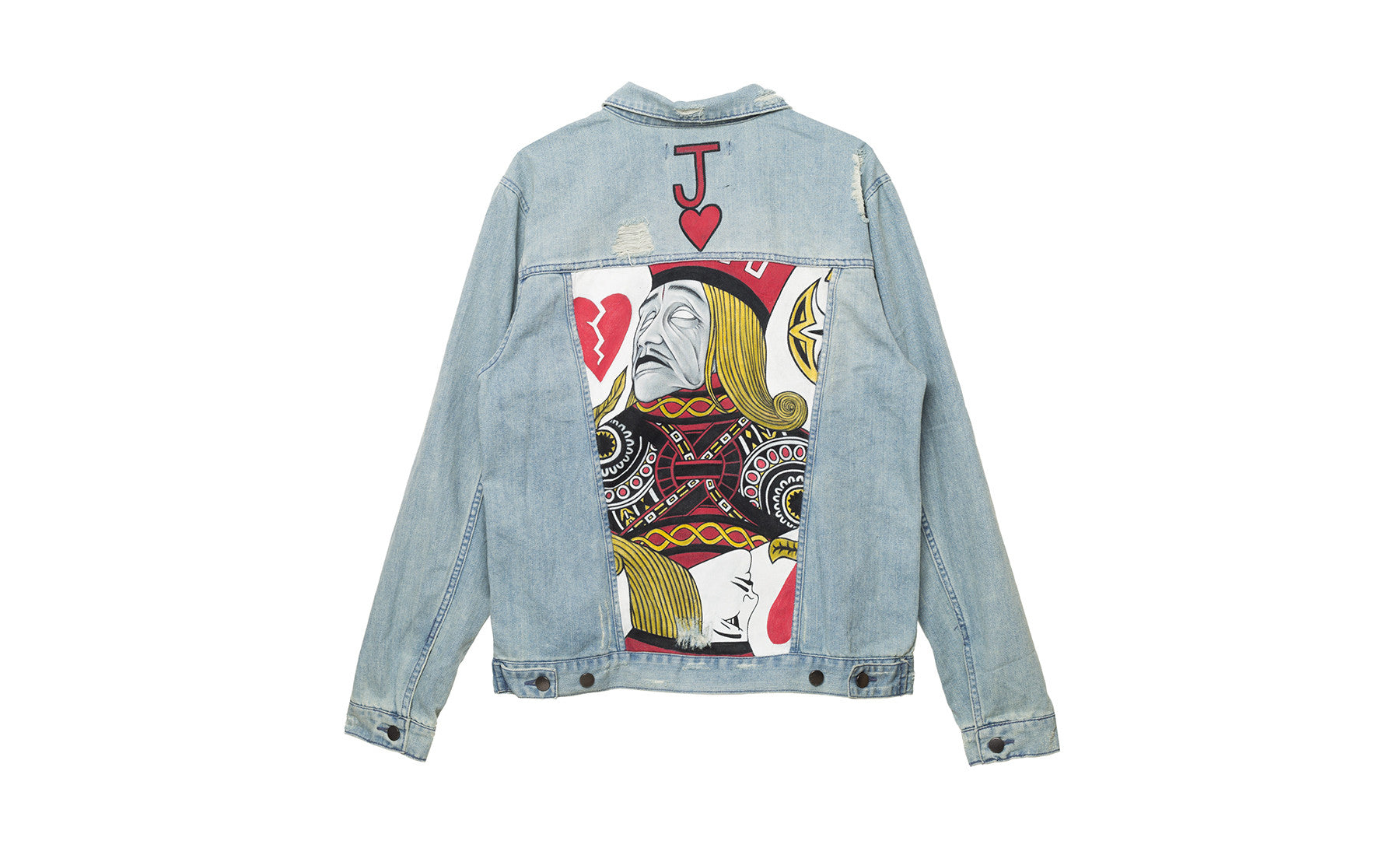 elwood clothing painted denim trucker jacket joker