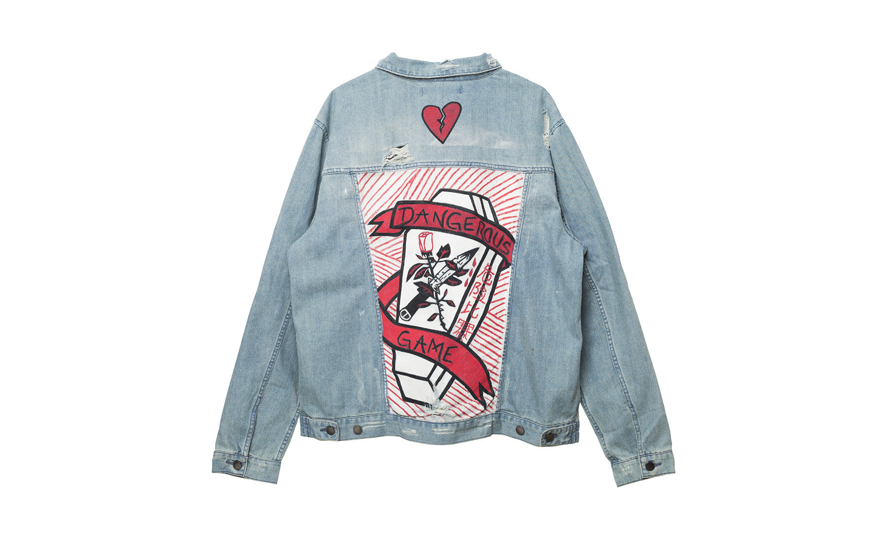 players card elwood painted denim jacket
