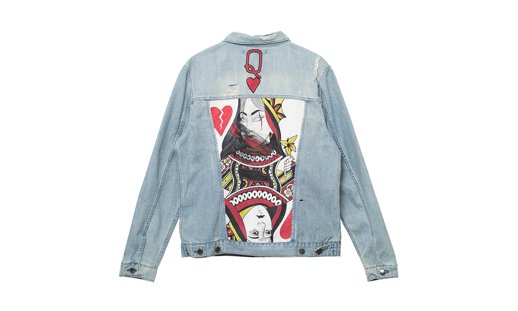 queen elwood clothing painted denim jacket