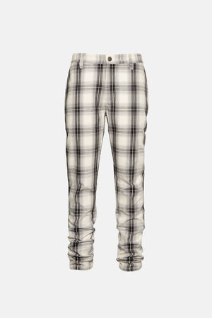White/Grey Tartan Plaid Slim Tapered Pant