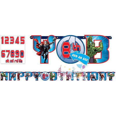 Avengers Birthday Party Jumbo Add On Age Banner - Party Buzz Party Supplies