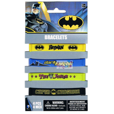 Batman Superhero Party 4 Kids Rubber Wristbands - Party Buzz Party Supplies