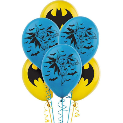 Batman Birthday Party Superhero 6 Blue Yellow Latex balloons - Party Buzz Party Supplies