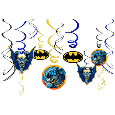 Batman Party Swirls Dangler Decorations Pack of 12 - Party Buzz Party Supplies