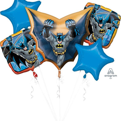 Batman Superhero Party Self Sealing Foil 5pc Balloons Bouquet