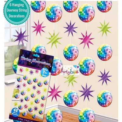 Disco Party Hanging String Decorations Pack of 6 - Party Buzz Party Supplies