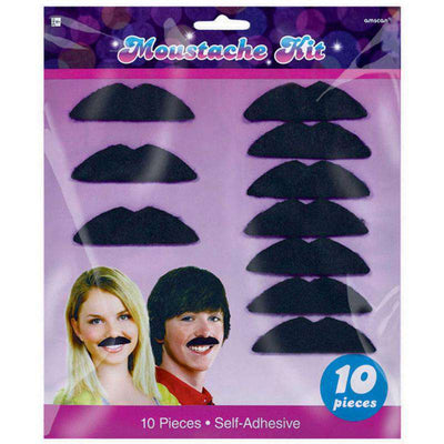 Disco Party 10 Piece Costume Moustaches - Party Buzz Party Supplies
