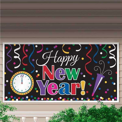 Happy New Year Giant Colorful Plastic Party Banner - Party Buzz Party Supplies