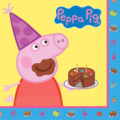 Peppa Pig Party Luncheon Lunch Napkins 16pk - Party Buzz Party Supplies