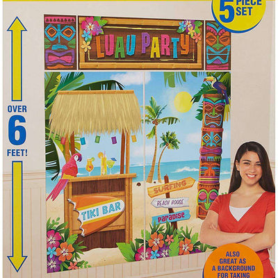 Tropical Luau Party Tiki Bar Scene Setter Decoration Backdrop Kit - Party Buzz Party Supplies