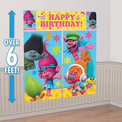 Trolls Dolls Happy Birthday Scene Setter & Photo Booth Props