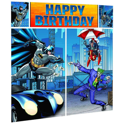 Batman Party Happy Birthday Scene Setter Wall Decorations Kit. - Party Buzz Party Supplies