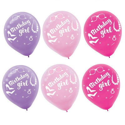Birthday Girls All Dolled Up Party 6 Latex Balloons 30cm