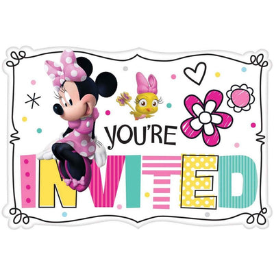 Minnie Mouse You're Invited 8 Pack Cardstock Postcard Invitations