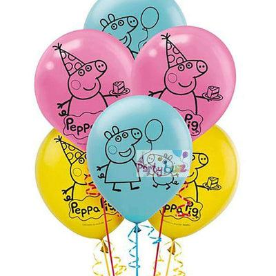Peppa Pig Party Decorations 6 Latex Balloons 30cm - Party Buzz Party Supplies