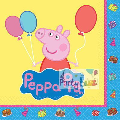 Peppa Pig Party Beverage Napkins 16pk - Party Buzz Party Supplies