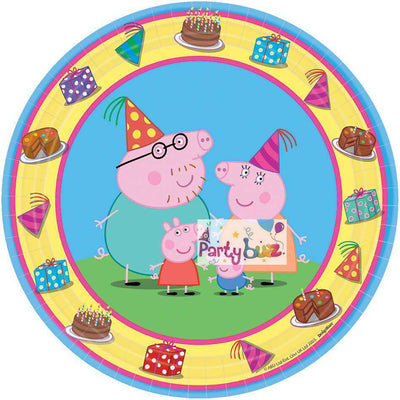 Peppa Pig Party Round Snack 18cm Plates 8 Pack - Party Buzz Party Supplies