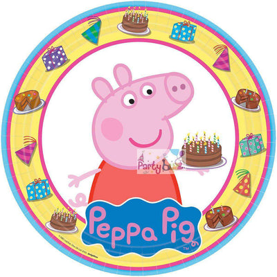 Peppa Pig Party Round 23cm Lunch Plates 8 Pack - Party Buzz Party Supplies
