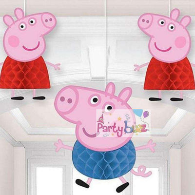 Peppa Pig Party 3 Honeycomb Hanging Decorations - Party Buzz Party Supplies
