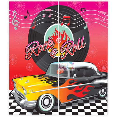 Classic 50's Party Scene Setter Photo Backdrop Prop - Party Buzz Party Supplies