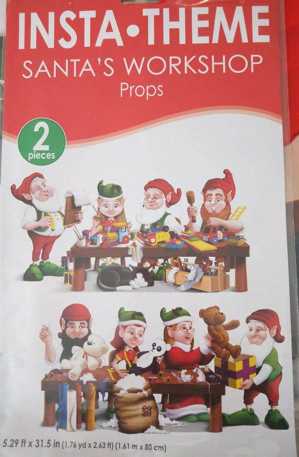 CHRISTMAS INSTA THEME SANTA/'S WORKSHOP PROPS SCENE SETTER PARTY WALL DECORATIONS