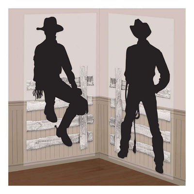 Cowboy Silhouette Western Party Scene Setter Add On Props - Party Buzz Party Supplies