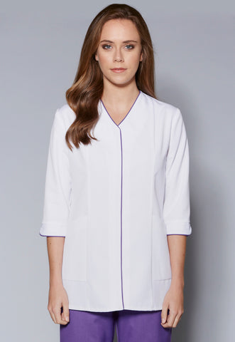 A108L V-Neck Zip Front ¾ Sleeve Tunic