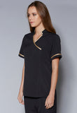 A40070 Mandarin Collar Crossover V-Neck Tunic