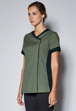 A42 Female Contrast Detail Crossover Zip Front Tunic