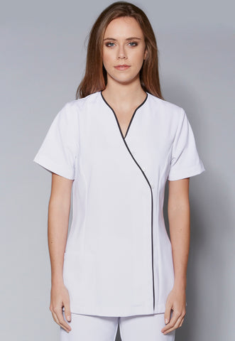 A55 Asymmetrical Zip Front Button Detail Tunic