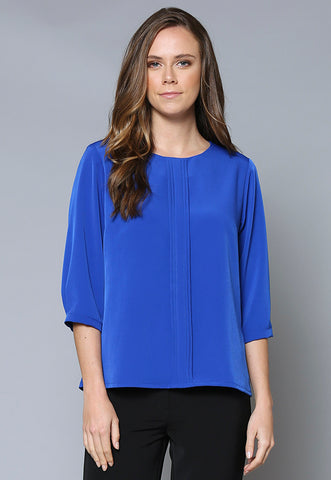 BL102Q Pleat Front Cuffed ¾ Sleeve Top