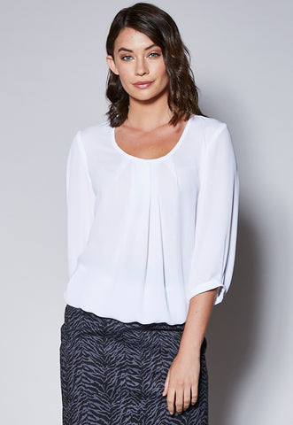 BL104 Pleat Front Cuffed ¾ Sleeve Top