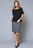 SK72 Inverted Kick Pleat Skirt With Pockets