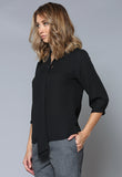 BL106Q Tie Detail Cuffed ¾ Sleeve Top