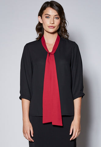 BL106QCST Tie Detail Cuffed 3/4 Sleeve Top