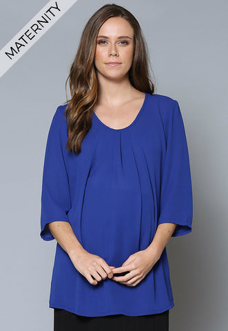 BL107MAT Pleat Front ¾ Sleeve Maternity Tunic