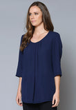 BL107 Pleat Front ¾ Sleeve Tunic
