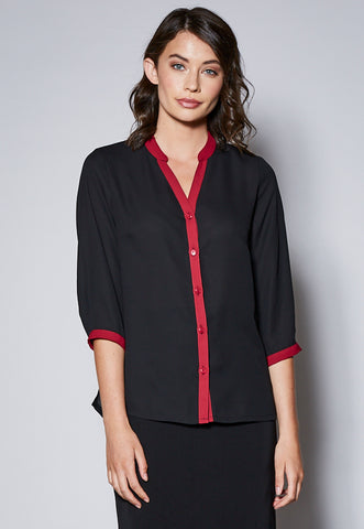 BL109CST Mandarin Collar 3/4 Sleeve Shirt