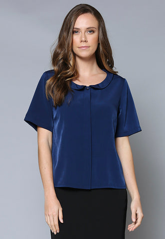 BL111 Scoop Neck Button Front Collared Top