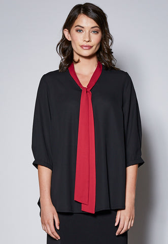 BL117Q Contrast Neck Tie 3/4 Sleeve Top