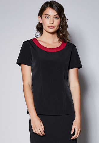 BL118S Contrast Scoop Relaxed Neck Short Sleeve Top