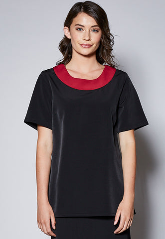 BL119S Contrast Scoop Shaped Neck Shaped Top