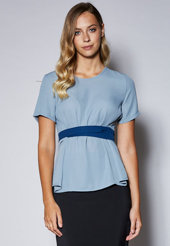BL120S Contrast Waist Tie Short Sleeve Top