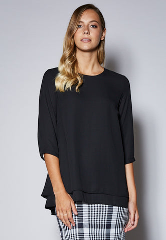 BL123Q Layered 3/4 Sleeve Tunic Top