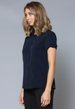 BL46 Shirt Collar Gathered Short Sleeve Top