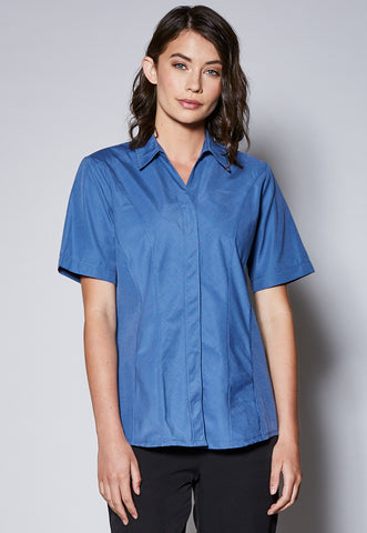 BL48S Concealed Placket Short Sleeve Panelled Shirt