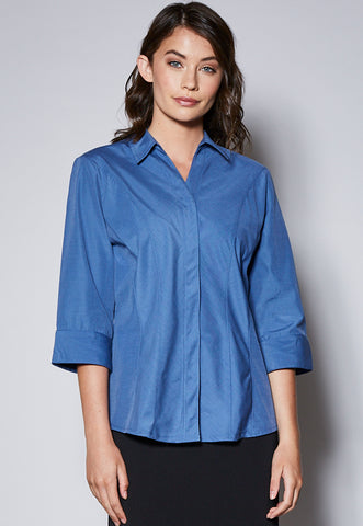 BL48 Concealed Placket 3/4 Sleeve Panelled Shirt