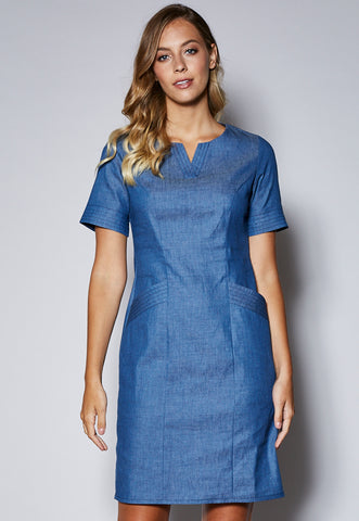 D18 Panel Dress with Pockets and Contrast Stitching