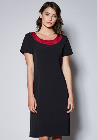 D23 Contrast Round Neck Short Sleeve Dress